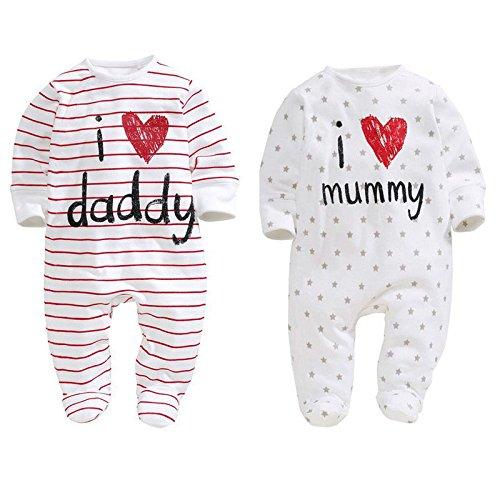 Geagodelia Body para bebé unisex estampado a letras, de algodón, de manga larga, para otoño e invierno, 0 – 24 meses, I Love Mummy & Daddy I Love Daddy 0-6 meses