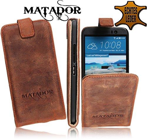 MATADOR Slim Design Tasche aus Echtem Leder passend für HTC ONE M9 FlipStyle Case Schutzhülle Hülle Cover mit EC/Kreditkartenfach (Brown)