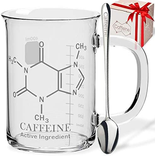 Caffeine Beaker Mug with Metal Spoon Chemistry Mug Borosilicate Glass Coffee Mugs with Handle product image