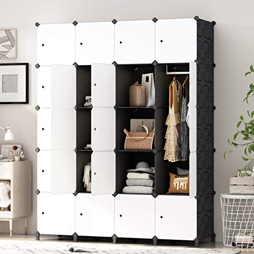 PREMAG fai da Te Portatile Armadio Guardaroba, Modular Storage organizzatore, di economia di Spazio stanzino, Deeper cubo con Hanging Asta 20 cubi