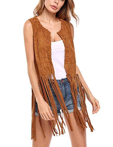 MAXMODA Damen West Fransen ärmellos dünn Fransenweste Bolero Blazer Strickjacke Bluse Kurzarm Bluse top Outdoor Cardigan Leder Hippie Gilet