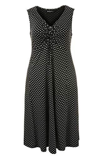 Ulla Popken Damen große Größen | Kleid mit Punkten | V-Ausschnitt mit Raffung und Band | ausgestellter Saum | Ärmellos | bis Größe 58+ | schwarz 54/56 704730 10-54+