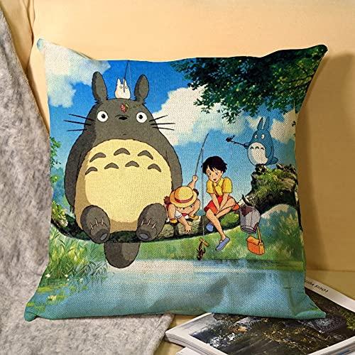 Best-design My Neighbor Totoro - Funda de cojín de microfibra para sofá, jardín, cama, sofá, 45 x 45 cm