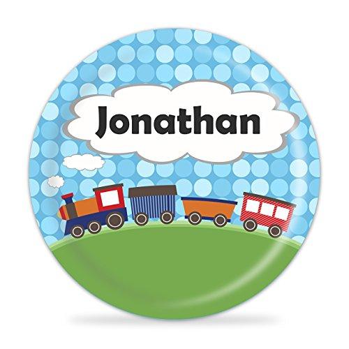 Train Plate - Blue Polka Dots Train Engine Melamine Personalized Name Gift