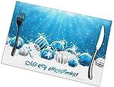 Tovagliette BLU a sfera natalizie Resistenti Alle macchie di calore Tappetini lavabili antiscivolo Cucina Set tavolo da pranzo Decorazione Set di 6, (45X30Cm)