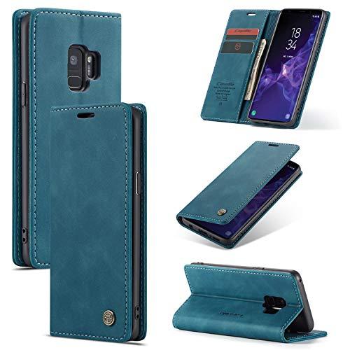 UEEBAI Handyhülle für Samsung Galaxy S9, Retro Matte Handyhülle PU Fallschutz Lederhülle Weich TPU Klapphülle mit Kartenfach Standfunktion Magnetverschluss Flip Case Handytasche - Blau