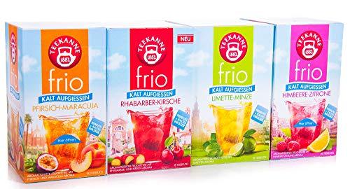 Teekanne frio 4er Pack, Rhabarber-Kirsche, Limette-Minze, Himbeer-Zitrone, Pfirsich-Maracuja, 4 x 45 g