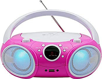 SINGING WOOD CD Player Boombox CD/CD-R/CD-RW Portable w/Bluetooth USB AM/FM Radio AUX-Input Headset Jack Foldable Carrying Handle and LED Light  Kitty Pink -New Version 2021