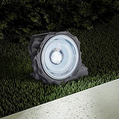 """Pure Garden 50-LG1002 Solar Powered Rock Lights, Set of 4-4.3"""" Outdoor Stone Decorative Nature-Inspired Spotlights for Gardens, Ponds, Pathways, and Patios"""
