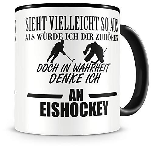 Samunshi® Ich denke an Eishockey Tasse Kaffeetasse Teetasse Kaffeepott Kaffeebecher Becher H:95mm/D:82mm schwarz