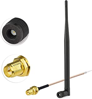 PRINDIY 8dBi RG174 RP-SMA m/âle 2400 MHz c/âble dextension 5 m/ètres Antenne WiFi avec antenne Bluetooth Zigbee avec Base magn/étique Compatible
