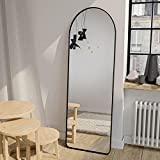 GLSLAND Full Length Mirror 58'x18' Standing on The Floor, Against Wall for Arch Floor Mirror with Bracket, Wall Mounted Mirror for Free Standing Hanging Leaning, Full Body Mirror for Cloakroom Black