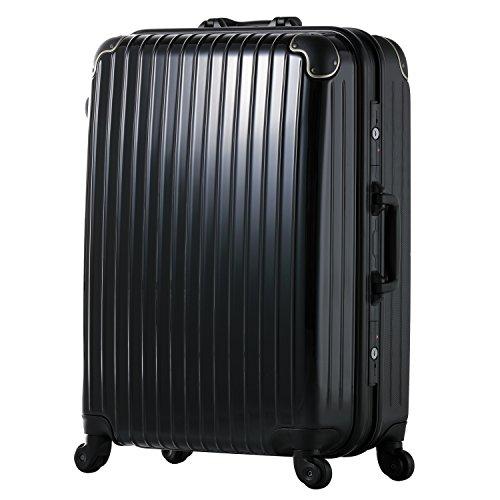 スーツケース ABS+ポリカーボネイト軽量フレームキャリー(12701-12801-12901) (L-12901, ブラック)