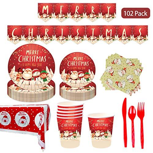 Amycute 118-teiliges Weihnachten Partyzubehör Set mit Banner Teller Becher Servietten Besteck Sets und Tischdecke, Einweg Geburtstag Geschirr Kit, Weihnachten Banner,Weihnachten Deko,für 16 Personen.