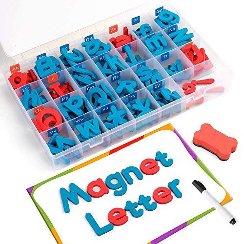 Letters 208 Pcs mit Karte und Aufbewahrungsbox - Groß Kleinbuchstaben Schaum Alphabet ABC-Magneten for Kühlschrank Kühlschrank - Educational Spielzeug-Set for den Unterricht for Kinder Lernen Rechtsch