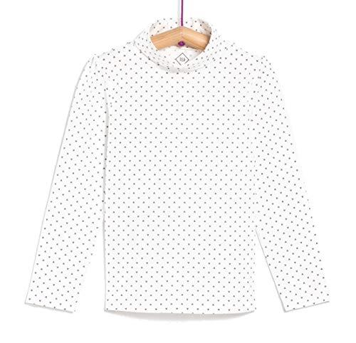 TEX - Camiseta de Algodón para Niña, Manga Larga, Cuello Alto, Blanco Roto, 4 a 5 años