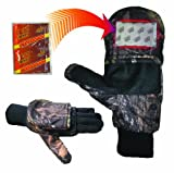 Heat Factory Gloves with Pop-Top Mittens, with Hand Heat Warmer Pockets, Mossy Oak, X-Large
