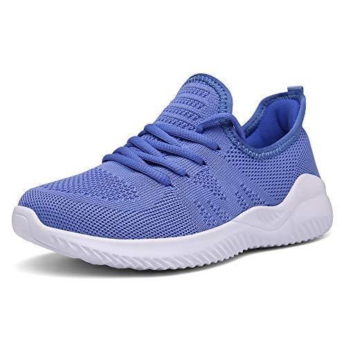 Chaussures de Course Femme Baskets Running Fitness Sneakers Respirantes Bleu 38 EU