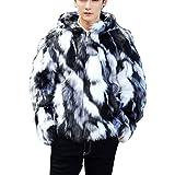 Lisa Pulster ファーコート メンズ フェイク 毛皮コート ファーパーカー メンズ 男 暖かい 冬 裏毛 アウター フェイクファー ストリート系 ショート丈 大きいサイズ S-5XL (2XL)