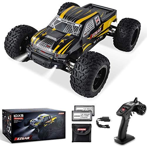 BEZGAR Ferngesteuertes Auto im Maßstab 1:10, 42 km/h All Terrains Elektrisches Spielzeug Offroad RC Monster Fahrzeug Autokriecher mit 2 wiederaufladbaren Batterien für Kinder und Erwachsene