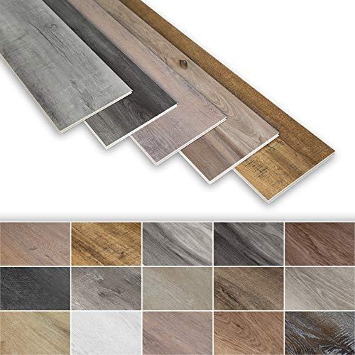 SPC Vinylboden mit I4F Klicksystem - 22.24QM ökologischer Designboden, 23x122cm rutsch- und wasserfest, schwer entflammbar - Holzoptik Schiefer-grauschwarz PS22