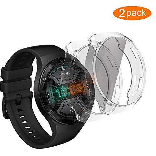 UCMDA Funda Huawei Watch GT 2E(Sport y Active Universal)- [2 Pack] Scratch-Proof Watch Screen Cover Funda Protector, Carcasa Protectora con Protector de Pantalla de TPU, para Huawei Watch GT 2E
