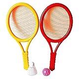 ABOOFAN 1 Paire de Enfants De Tennis Raquette Ensemble avec Volant Boule en Plastique Raquette De Tennis Jouet pour Enfant Sports de Plein Air Jeux pour Enfants Couleur Aléatoire