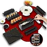 Luspo Sushi Maker Kit - Set Completi + 50 recipes in Italiano+Guida al montaggio   12 Pezzi - Con Coltello da Sushi Expert Cottura del Riso - Accessori da Cucina Giapponese per nori