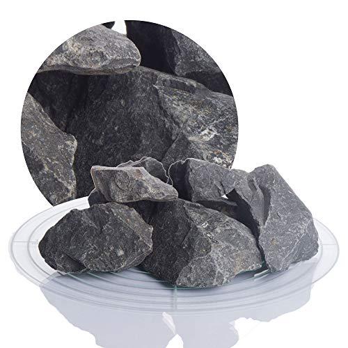 Schicker Mineral Basaltsplitt anthrazit 25 kg in den Größen 8-16 mm, 16-22 mm, 16-32 mm, 32-56 mm, ideal zur Gartengestaltung, schwarzer Naturstein Splitt (Basalt Splitt, 32-56 mm)
