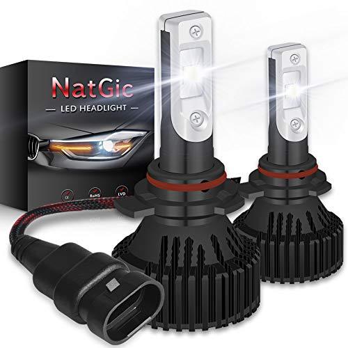NATGIC 9012 HIR2 Kit de Conversión de Bombillas de Faros LED 16000LM 16 XHP50 Chips Pure White 6500K Impermeable, DC 9-32V, 2 años de Garantía (Paquete de 2)
