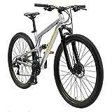 BIKESTAR Bicicleta de montaña de Aluminio Suspensión Doble Completa 29 Pulgadas | Cuadro 17.5' Cambio Shimano de 21 velocidades, Freno de Disco, Fully MTB | Gris