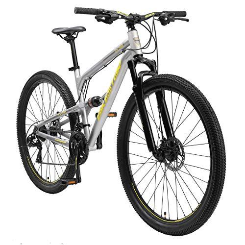 BIKESTAR MTB Mountain Bike Sospensione Completa in Alluminio, Freni a Disco, 29' | Bicicletta MTB Telaio 17.5' Cambio Shimano a 21 velocità | Grigio