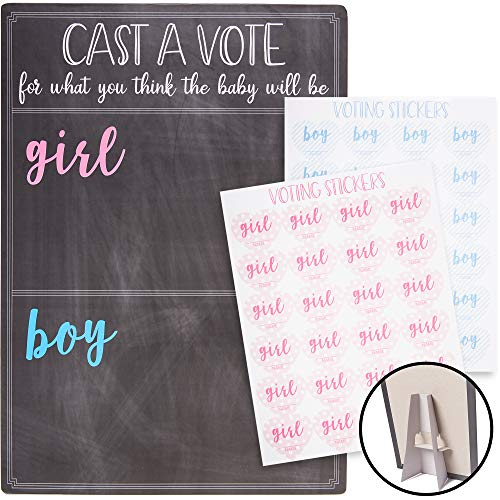 Juvale Baby Gender Reveal Board with Stand and Voting Stickers Chalkboard Design