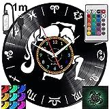 Reloj de pared con signo del zodiaco Acuario RGB, LED, para mando a distancia, disco de vinilo, decorativo para regalo de cumpleaños