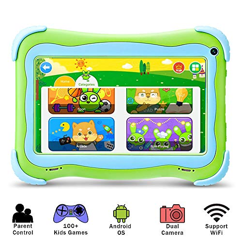 YUNTAB Kids 7 inch Tablet - 2019 Upgrade, Android 8.1 OS, Pre-Installed Kids Games, 1GB RAM 16 GB ROM, Premium Parent Control, GMS Certified, A50 Cortex-A7 Quad Core CPU, Protecting Angles (Q91 Green)