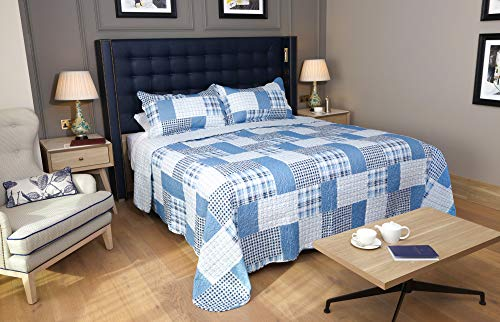 Restmor Tagesdecke Steppdecke mit Quilt Patchwork Design, Zweiseitig - Gesteppter Bettüberwurf - Erhältlich in 3 Größen mit Kissenbezug - Check (Double inkl. 2 Kissenbezüge)