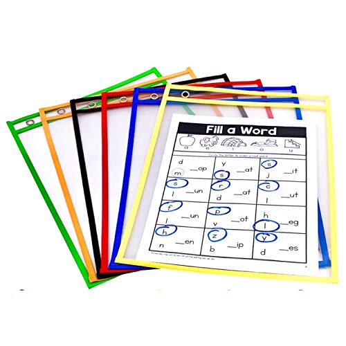 PDX Reading Specialist Dry Erase Pocket Sleeves - 6 Assorted Colors - Oversized Plastic Sheet Protectors - Great for Teachers, School, Home & Office, Shop Tickets and More
