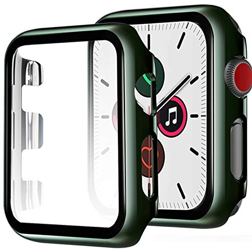 Miimall Funda Compatible con Apple Watch Series 3/2/1 42mm Carcasa Protector Cristal, 2 en 1 PC Case + Vidrio Templado Anti-Choque Protector Pantalla para iWatch Series 3/2/1 42mm - Verde Oscuro
