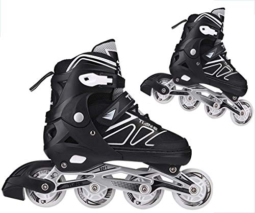 Kinder Mädchen Herren Damen Inliner | ABEC-7 Rollschuhe verstellbare Inlineskates Größe 30-45 Unisex Fitness Skates für Erwachsene Rädern Rollschuhe für Jungen Mädchen Anfänger ,Schwarz,XL (42~45)
