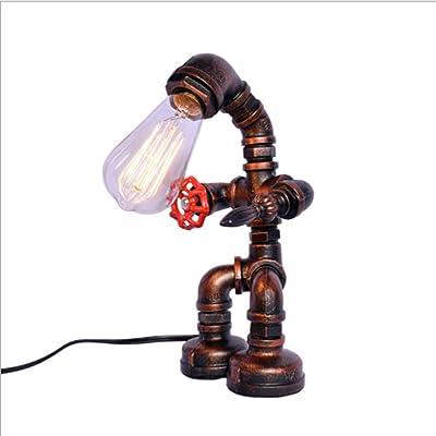 ZAQXSW Vintage Industrial de tuberías de Agua de Steampunk Robot lámpara de Mesa Retro Cafe Bar Hierro Forjado Decoración de Escritorio país Enciende Dormitorio del Accesorio de iluminación: Amazon.es: Hogar