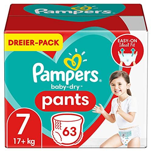 Pampers Windeln Pants Größe 7 (17kg+) Baby Dry, 63 Höschenwindeln, Einfaches An- und Ausziehen, Zuverlässige Trockenheit