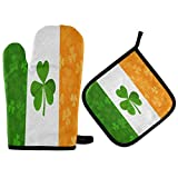 FHTDH Suministros de cocina, guantes de horno y juegos de ollas Irish Flag Shamrock Clovers Leaves Pattern Oven Mitts Quilted Cotton Lining Potholders BBQ Gloves-Oven Mitts and Pot Holders Heat Resist