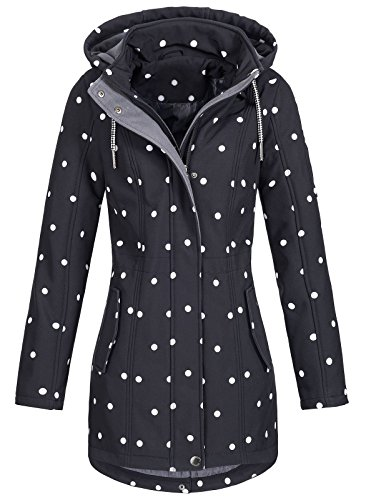 Top Fuel Fashion Damen Softshelljacke Ivana Funktions Kurzmantel abnehmbare Kapuze wasserabweisend Black Fond/White L