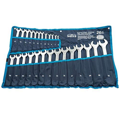 Satra Schraubenschlüssel 6-32mm Ringmaulschlüssel Satz 26tlg. Chromvanadium Werkzeug Set inkl. Tasche