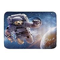 玄関マット印刷マイクロファイバーバスマットラグおかしいアストロドッグサイエンスフィクション宇宙船犬ヒッピーヒップスター宇宙飛行士バスルームマットフロアラグ滑り止めようこそ滑り止め吸収性カーペット