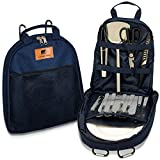 Strand Gear 16-Piece Portable Camping Utensils & Dishes Set – Portable BBQ, Outdoor Camping and Picnic Caddy for Plates and Utensils, Water Resistant Case, Enamelware Plates & Stainless Steel Utensils