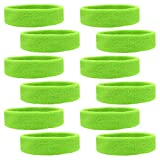 Kenz Laurenz 12 Sweatbands Cotton Sports Headbands Terry Cloth Moisture Wicking Athletic Basketball Headband (12 Pack - Neon Green)