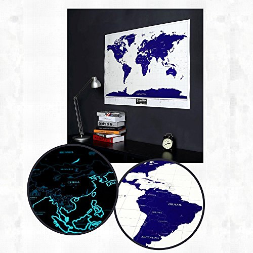 Sunsang notte stellata mappa fluorescenti Starlight scratch off World Map Edition Personalized Travel Vacation scratch mappa del mondo