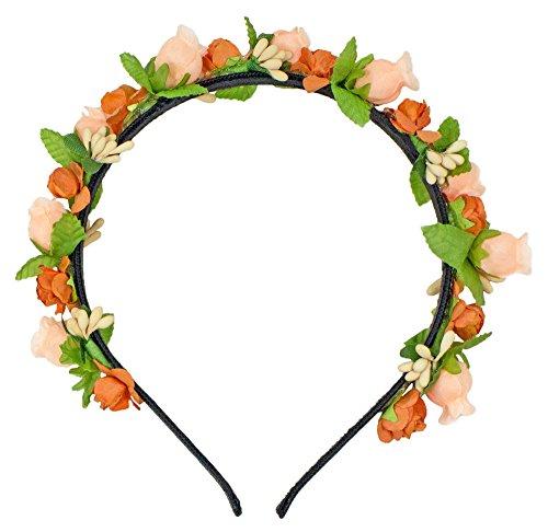Trachtenland Blumen Haarreif Liliana mit Rosen - Apricot
