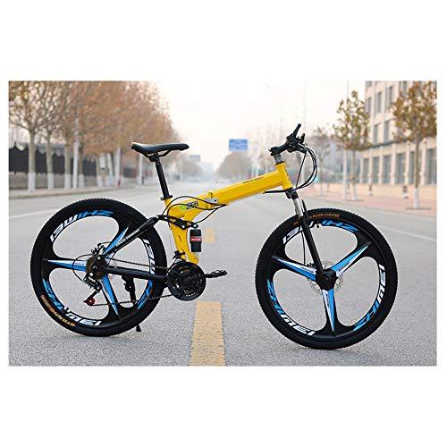 KXDLR Opvouwbare Mountainbike, Koolstofstaal Frame Dubbele Schokdemper Mountainbike, Kinderen Volwassen Mountainbike, Verstelbare stoel, 26 Inch 27Speed